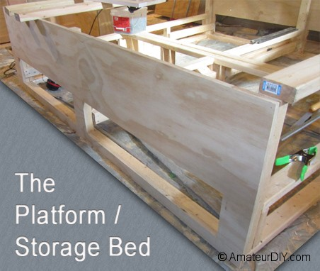 platform storage bed plans king