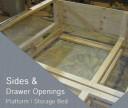 platform bed drawer openings